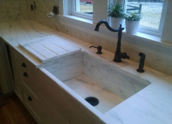 Custom Marble Counter and Farm Sink